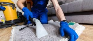cleaner cleaning a rug