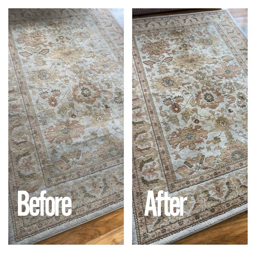 rug cleaning before and after picture