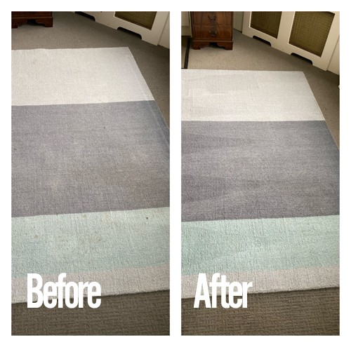 rug cleaning before and after shot