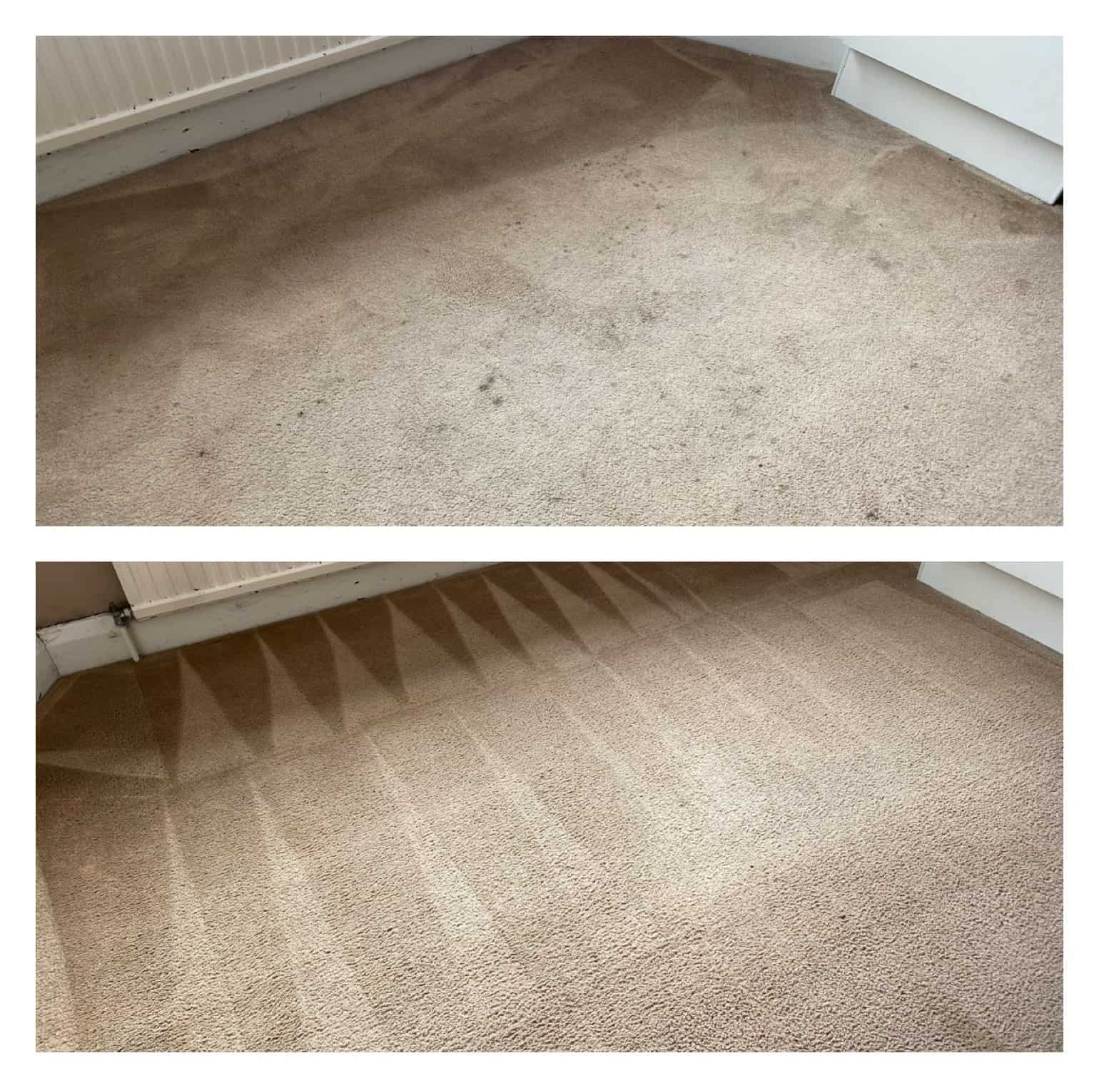Before and after of carpet cleaning job