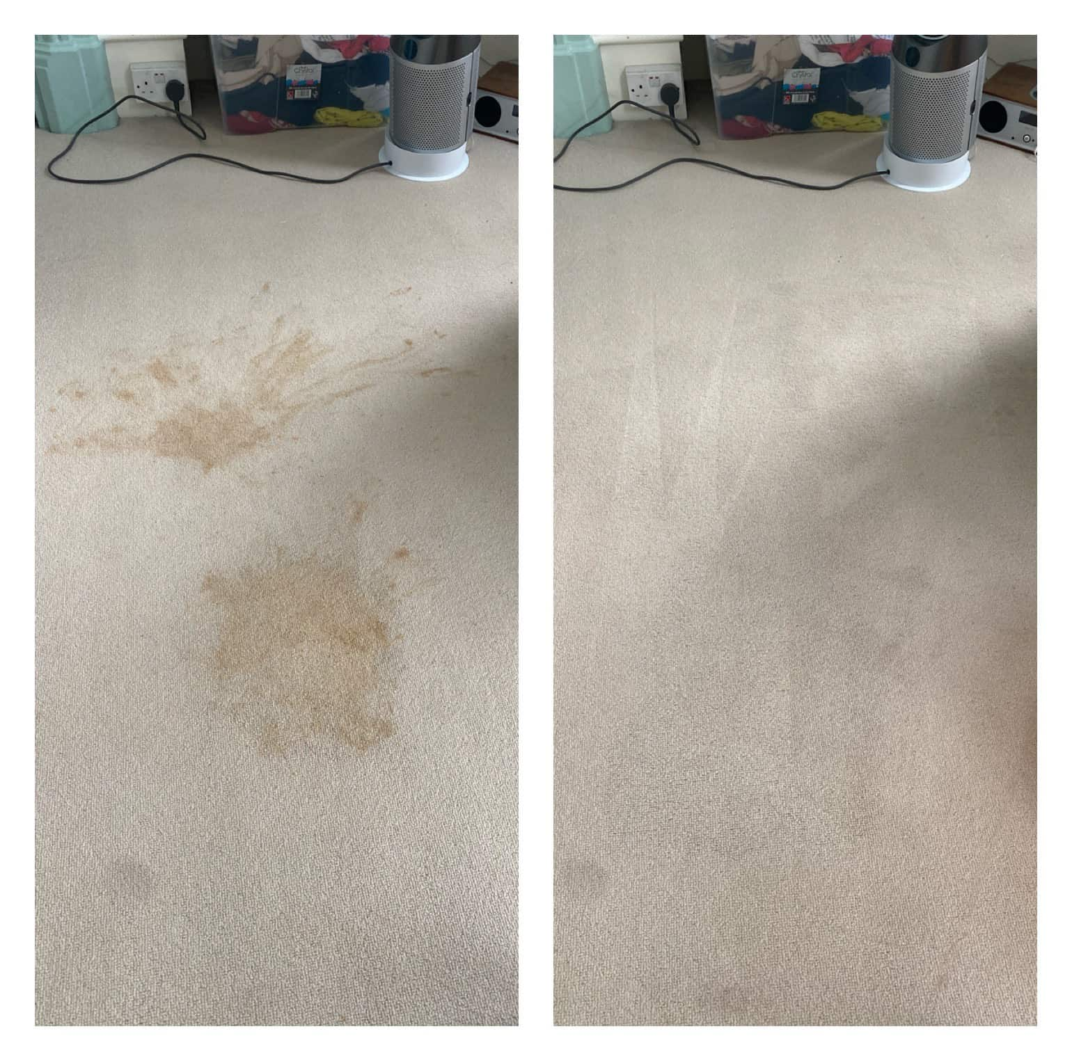 Before and after of stain removal from carpet